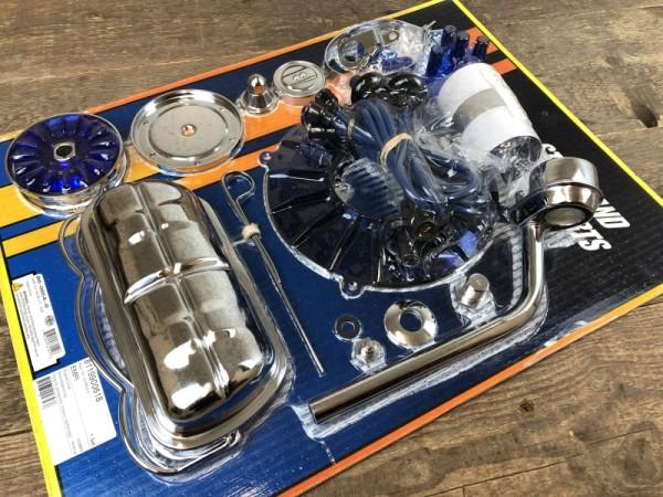 EMPI Motor Chrom /blau Dress-Up Super Deluxe kit VW Käfer Trike Bus Karmann Ghia