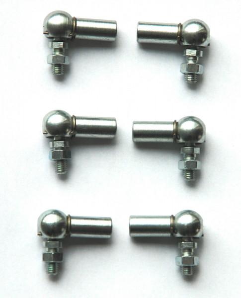 Kugelkopf 6x Gasgestänge für Mercedes W111 220 230S/ SE 250 mit 8mm Kugelpfanne